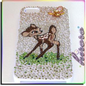 iPhone5/5sケース スワロフスキー バンビと蝶々|different