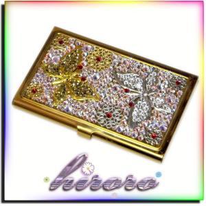 カードケース GOLD 総スワロフスキー 蝶々 no.4|different