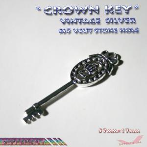 ロイヤルクラウンの鍵 チャームパーツ ヴィンテージシルバー|different