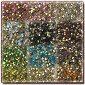 SS12 Crystal  Vカットストーン 10粒〜20粒 15Color デコにレジンに 約3mm|different
