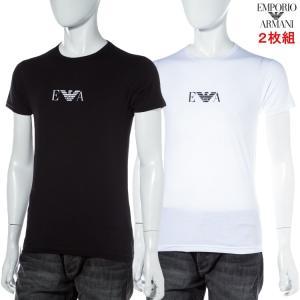 2枚組 アルマーニ エンポリオアルマーニ Emporio Armani Tシャツ アンダーウェア インナー カットソー 半袖 丸首 メンズ 111267 CC715 2P ブラック ホワイト