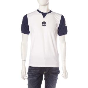ハイドロゲン HYDROGEN Tシャツ 半袖 丸首 TENNIS テニス メンズ FR0051 ホワイト×ネイビー HYD値下|diffusion