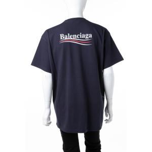 バレンシアガ BALENCIAGA Tシャツ 半袖 丸首 クルーネック メンズ 508203 TBV42 ネイビー 2018年秋冬新作|diffusion