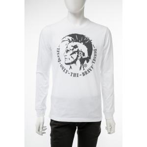 ディーゼル DIESEL ロングTシャツ ロンT 長袖 丸首 クルーネック T-DIEGO-LONG-B-R MAGLIETTA メンズ 00SEY7 R091B ホワイト|diffusion