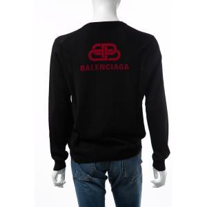 バレンシアガ BALENCIAGA セーター ニット 長袖 Vネック メンズ 583115 T1439 ブラック 2019年秋冬新作|diffusion