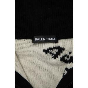 バレンシアガ BALENCIAGA セーター ニット 長袖 タートルネック ハイネック メンズ 555484 T1471 ブラック×ホワイト 2019年秋冬新作 diffusion 09