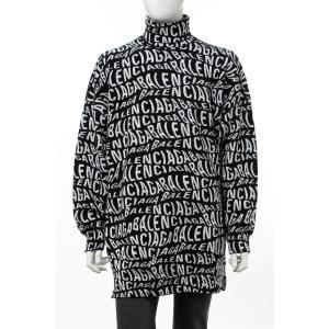 バレンシアガ BALENCIAGA セーター ニット ハイネック メンズ 583151 T1535 ブラック×ホワイト 2019年秋冬新作|diffusion