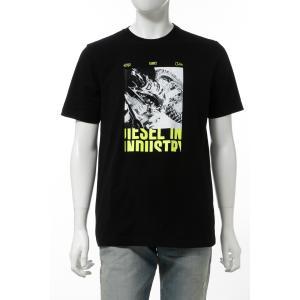 ディーゼル DIESEL Tシャツ 半袖 丸首 クルーネック T-JUST-Y3 MAGLIETTA メンズ 00SSPR 0091A ブラック|diffusion