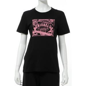 ディーゼル DIESEL Tシャツ 半袖 丸首 クルーネック T-SILY-C1 MAGLIETTA レディース 00SYGX 0LAKY ブラック diffusion