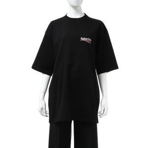 バレンシアガ BALENCIAGA Tシャツ 半袖 丸首 クルーネック オーバーサイズ レディース 620941 TIV52 ブラック 2020年秋冬新作 diffusion
