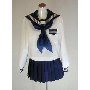 メディアにも使われるほど人気の白ボディに濃紺襟の冬セーラー服です。  セーラー服はサイドファスナー、...
