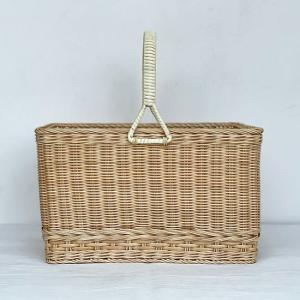 松野屋 籐一本手買物かご角(大) かご カゴバッグ 手作り おしゃれ かわいい ピクニックバスケット 日本製 長野県産 digstore