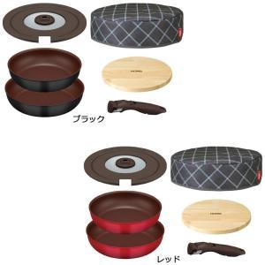 フライパン、取っ手、フタ、保温カバーなどがセットになったスターターセット フライパンは、硬質フィラー...