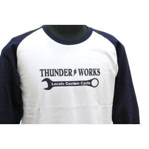 エアフィッシュ 【AirFish】 THUNDER WORKS ロングTシャツ 【ホワイト/ネイビー】|dimension-3|03