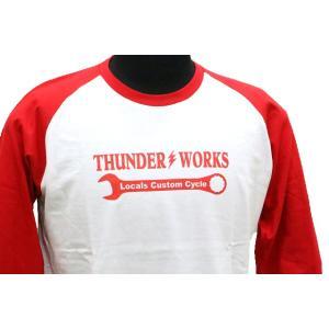 エアフィッシュ 【AirFish】 THUNDER WORKS ロングTシャツ 【ホワイト/レッド】|dimension-3|03