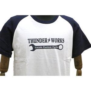 エアフィッシュ AirFish THUNDER WORKS Tシャツ ホワイト/ネイビー|dimension-3|03