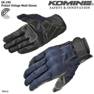 コミネ KOMINE Lサイズ GK-249 プロテクトヴィンテージメッシュグローブ ネイビー 06-249|dimension-3