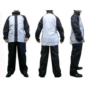 防寒レインスーツ 【オーバージャケット/パンツ】 シルバー/ブラック dimension-3