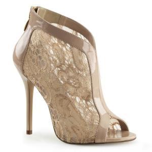 取寄せ靴 新品 オープントゥ かわいいレース ハイヒール ブーティ 12.5cmヒール 肌色 ヌード エナメル|dimples