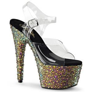 取寄せ靴 送料無料 新品 きらきらマルチカラーラインストーン ベルト付き 厚底サンダル 17.5cmヒール クリア緑グリーン|dimples