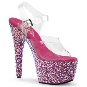 取寄せ靴 送料無料 新品 きらきらマルチカラーラインストーン ベルト付き 厚底サンダル 17.5cmヒール クリア ホットピンク|dimples