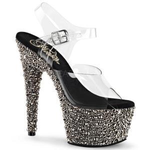 取寄せ靴 送料無料 新品 きらきらマルチカラーラインストーン ベルト付き 厚底サンダル 17.5cmヒール クリアピューター|dimples