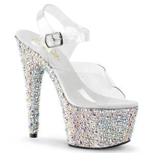 取寄せ靴 送料無料 新品 きらきらマルチカラーラインストーン ベルト付き 厚底サンダル 17.5cmヒール クリア銀シルバー|dimples