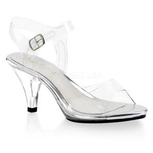 取寄せ靴 新品 ベルト付き 薄厚底サンダル 7.5cmクリアヒール クリア|dimples