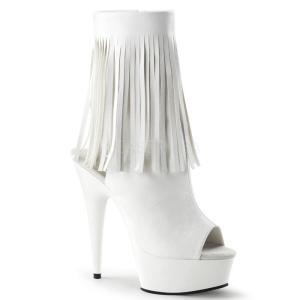 厚底ショートブーツ 白 ホワイト つや消し合皮 Pleaser プリーザー dimples