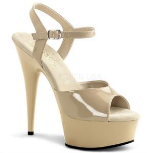取寄せ靴 新品 衣装靴 ベルト付き 大人気厚底サンダル 15cmピンヒール クリームエナメル Ple...