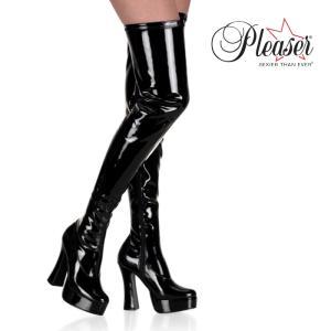 厚底ニーハイサイハイブーツ 黒 ブラック エナメル Pleaser プリーザー|dimples