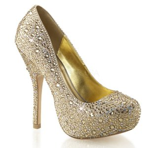 取寄せ靴 マルチサイズのラインストーン付き ハイヒール ビジュー パンプス 13.5cmヒール シャンパン サテン dimples