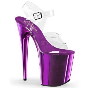 取寄せ靴 新品 衣装靴 ベルト付き 大人気 超厚底サンダル 20.5cmピンヒール クリア 紫 パープル クロム|dimples