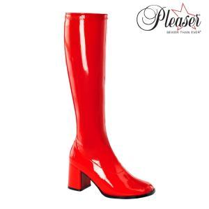 薄厚底ロングブーツ 赤 レッド エナメル Pleaser プリーザー|dimples