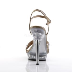 薄厚底サンダル ラインストーン ビジュー アンクルストラップ 灰茶 トープ つや消し Pleaser プリーザー|dimples|04
