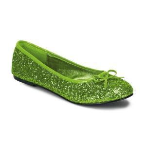 パンプス ぺたんこ フラット ライム 緑 グリーン グリッター Pleaser プリーザー|dimples