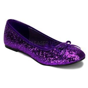 パンプス ぺたんこ フラット 紫 パープル グリッター Pleaser プリーザー|dimples