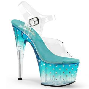取寄せ靴 送料無料 新品 キラキララインストーン ベルト付き 厚底サンダル 17.5cmピンヒール クリア 青緑 ティール|dimples