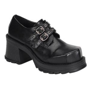 取寄せ靴 新品 2連ベルト ゴス系 厚底靴 7cmチャンキーヒール 黒 ブラック ヴィーガンレザー|dimples