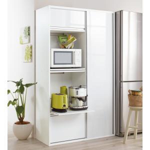 〜キッチン家電と食器をまとめて収納できる便利なキッチン収納家具です〜◆良く使う家電収納部はオープン棚...