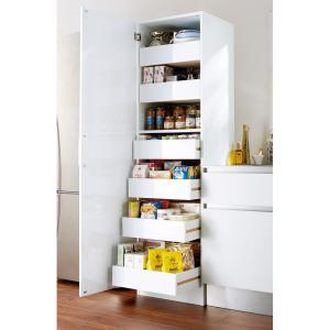 食品ストックを出し入れしやすく大量収納できるトレー式引き出しのキッチンラック◆手前にスライドできるト...