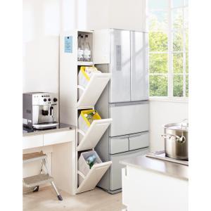 ◆幅をとらないおしゃれなスリムタイプの分別ダストボックス。◆台所の隙間を縦に使って3段階に縦型分別で...