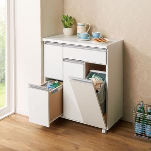 〜高い機能性とシンプルデザインのダストワゴン〜◆生活感が出てしまうゴミ箱はキッチンカウンターに収納し...
