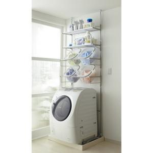 洗濯機パンに収まる 段差対応ランドリーラック 棚2段・バスケ...