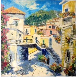 油絵 絵画 マルコ 作 イタリア風景 「アマルフィ・ポジターノ」 インテリア リビング|dipint