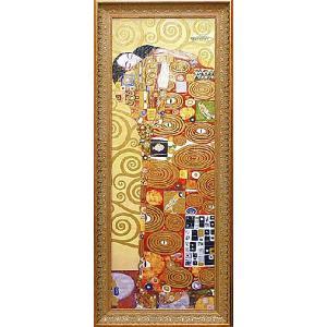 クリムト 抱擁 名画絵画 立体複製画 47cm×112cm インテリア 玄関|dipint