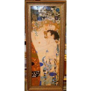 クリムト 人生の三段階 名画絵画 立体複製画 47cm×112cm インテリア 御祝い|dipint