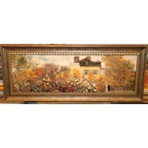 モネ 庭園のアーチスト 名画絵画 立体複製画 インテリア 49cm×113cm|dipint