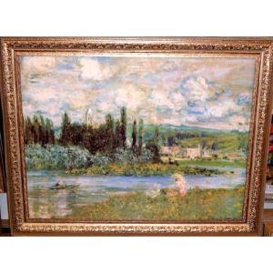 モネ Vetheuil sur Seine 1880 名画絵画 立体複製画 インテリア 新築祝い 91cm×71cm|dipint