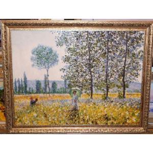モネ Champs au Printemps 1884 名画絵画 立体複製画 インテリア 71cm×91cm|dipint